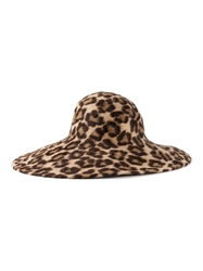 Philip Treacy Leopard Print Wide Brim Hat Brown