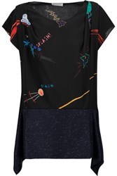 Vionnet Printed Silk T Shirt Black