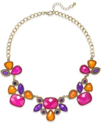 Style And Co. Gold Tone Multicolor Bold Stone Necklace