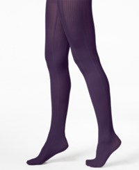 Hue Variegated Stripe Control Top Tights Aubergine
