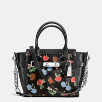 Coach Swagger 21 In Printed Haircalf Silver Daisy Field Blk