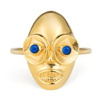 Lee Renee Voodoo Ghede Ring Gold And Lapis Lazuli Blue Gold