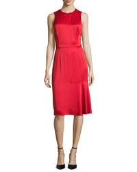 Grey By Jason Wu Sleeveless Crisscross Back Satin Cocktail Dress Red
