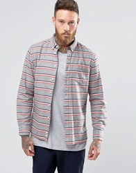 Penfield Hants Horizontal Stripe Shirt Button In Regular Fit Brushed Cotton Grey