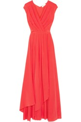 Tory Burch Pleated Silk Crepe De Chine Wrap Gown Papaya
