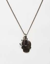 Simon Carter Antiqued Anchor And Skull Necklace Exclusive To Asos Silver