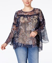 Styleandco. Style Co. Plus Size Floral Print Crochet Trim Peasant Blouse Only At Macy's Floral Paisley Blue