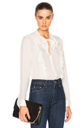 L'agence Valentina Ruffle Blouse In White