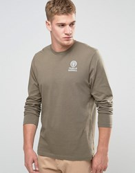 Franklin And Marshall Crest Logo Long Sleeve T Shirt Dark Olive Green