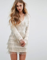 Missguided Peace Love Embellished Fringe Mini Dress Silver