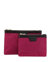 Neiman Marcus Two Piece Saffiano Trim Nylon Cosmetics Bag Boxed Set Red