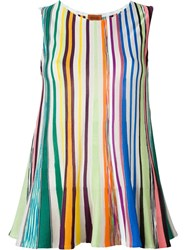 Missoni Striped Knit Sleeveless Top Blue