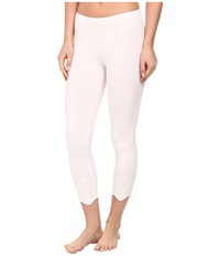 Hue Eyelet Hem Cotton Capri White Women's Capri
