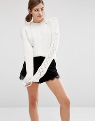 Fashion Union Cropped Knitted Jumper With Textured Sleeves Cream