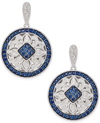 Macy's Sapphire 2 Ct. T.W. And Diamond 1 4 Ct. T.W. Decorative Disc Drop Earrings In Sterling Silver Blue