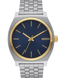 Nixon Gold And Blue Time Teller Watch Yellow