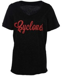 J America Women's Iowa State Cyclones Curves Glitter Plus Size T Shirt Black