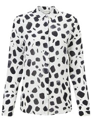 Selected Femme Norva Printed Silk Shirt White Black