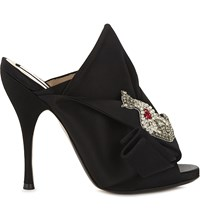 No 21 Bow And Cat Embellished Stain Mules Black