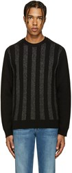 Balmain Black And Silver Striped Sweater