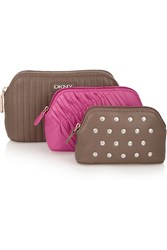 Dkny Set Of Three Leather Pouches Brown