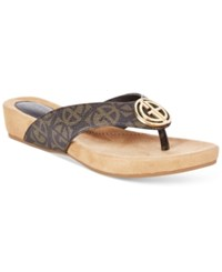 Giani Bernini Racchel Footbed Flip Flop Sandals Only At Macy's Women's Shoes Brown