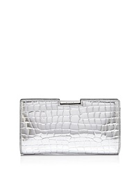 Milly Logan Metallic Embossed Small Frame Clutch Silver