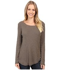 Dylan By True Grit Softest Slub Waffle Long Sleeve Seamed Thermal Crew Elm Women's Long Sleeve Pullover Gray