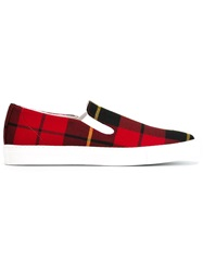 Comme Des Garcons Shirt Tartan Sneakers Red