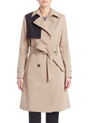 Sonia Rykiel Water Repellent Colorblock Trench Coat Khaki Black