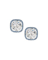 Fragments For Neiman Marcus Fragments Silvertone Pave Blue And Clear Crystal Stud Earrings Women's