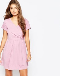 Pussycat London Jersey Skater Dress With Wrap Front Purple