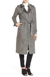 Love Token Women's Faux Suede Long Trench Coat Grey