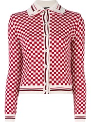 Versus Checked Button Down Cardigan Red