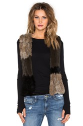 525 America Patchwork Rabbit Fur Vest Brown