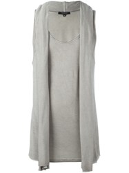 Unconditional Draped Hooded Vest Grey
