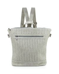 Neiman Marcus Distressed Woven Square Backpack Pale Gray