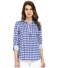Hatley Bonded Cotton Button Down Top Blue Gingham Aztec Women's Blouse
