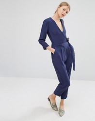 Asos Belted Jumpsuit With Wrap Front Navy