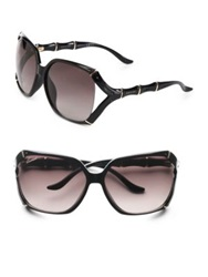 Gucci Square Bamboo Trim Sunglasses Brown Horn Black