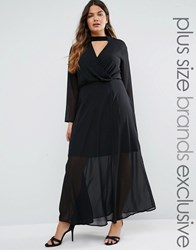Truly You Long Sleeve Maxi Dress With Collar Detail Black