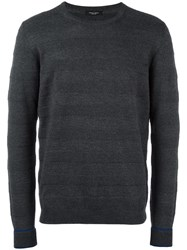 Roberto Collina Embossed Stripes Jumper Grey