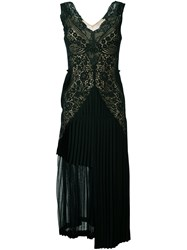 Stella Mccartney Pleated Lace Detail Dress Green