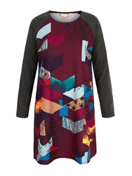 Yumi Owl Digital Print Tunic Dress Plum
