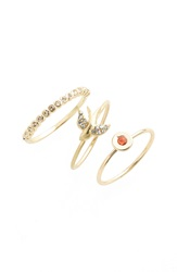 Lonna Lilly 'Flow' Rings Set Of 3 Gold Silk Bird