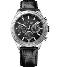 Tommy Hilfiger 1791224 Hudson Croc Effect Leather Watch Black