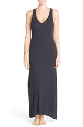 Midnight By Carole Hochman Women's Ribbed Lounge Maxi Dress Midnight Heather