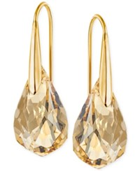 Swarovski Gold Tone Champagne Crystal Drop Earrings