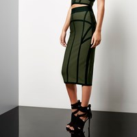 River Island Womens Khaki Bandage Pencil Skirt