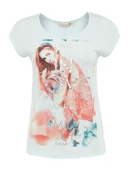 Salsa Cap Sleeve Top With Printed Front Multi Coloured